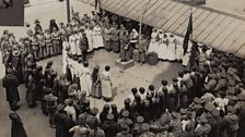 An anniversary speech in the courtyard, Endell Street Military Hospital