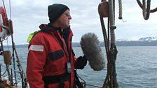 Chris Watson on board Whale Watching schooner - Husavik.