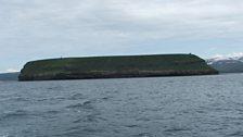 Puffin island off the coast near Husavik.