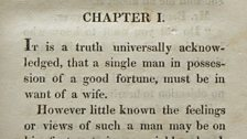The first lines of Pride and Prejudice published in a first edition of the novel in 1813