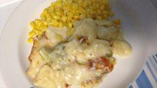 Cauliflower cheese with sweetcorn
