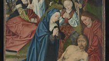 Master of the Aachen Altarpiece  Lamentation (Front of Panel), Two kneeling Donors (Reverse of Panel), about 1490-5