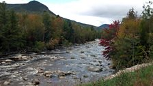 The river and hills near Loon Mountain, New Hampshire, USA