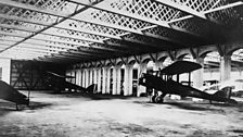 The hangars at Old Sarum, Wiltshire. The site was requisitioned for use as a flight training establishment in 1917.