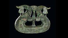 Brooch shaped like a ship, 800-1050. Tjørnehøj II, Fyn, Denmark