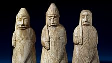 The Lewis Chessmen, berserkers. Late 12th century, Uig, Lewis, Scotland
