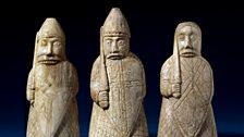 The Lewis Chessmen, berserkers. Late 12th century, Uig, Lewis, Scotland