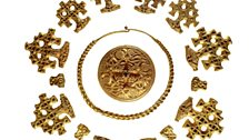 Hiddensee Hoard. Hoard of fourteen filigree pendants/spacers/brooch & neck-ring, probably made in Denmark, late 10th century