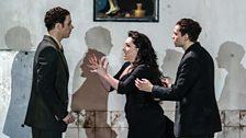 Christopher Ainslie as Unulfo, Rebecca Evans as Rodelinda, and Matt Casey as Flavio
