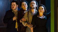 John Mark Ainsley as Grimoaldo, Susan Bickley as Eduige, Iestyn Davies as Bertarido, and Rebecca Evans as Rodelinda