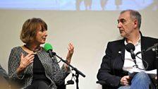 Patty Hopkins talking to Philip Dodd