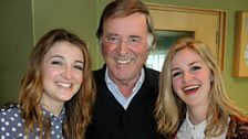 Sir Terry Wogan with new country music duo Ward Thomas.