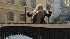Percussionist Evelyn Glennie performs outside BBC HQ