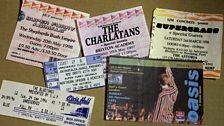 A selection of Britpop gig tickets