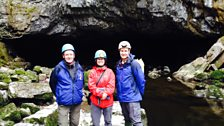 Felicity stands at the entrance to Porth Yr Ogof, with Gary Evans of the South Wales Outdoor Activity Providers Group (right),