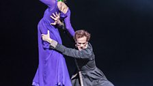 Lauren Cuthbertson as Hermione and Edward Watson as Leontes in Act I of The Winter's Tale