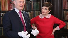 Marie-Louise Muir with librarian John Killen at The Governors' Room