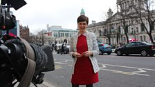 Marie-Louise Muir doing the opening link at Belfast City Hall