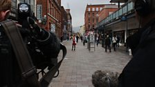 Camera crew with Marie-Louise on Belfast streets
