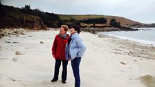 Helen and Catherine looking at recent cliff erosion on St Mary's