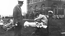 Injured soldiers in the grounds of the University of Birmingham. Known as the Southern General, over 130K were admitted