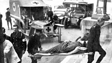 The first convoy of injuries arrive at the Royal Berkshire Hospital in Reading. Leonard Joyce was a pioneering surgeon here.