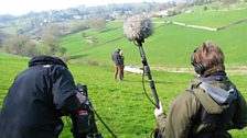 The view from the estate with Mary Milton recording sound and Mark Smeaton on camera