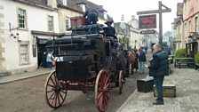 Preparing the horse and cart for filming
