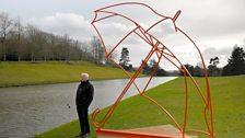 Michael Craig-Martin installing sculptures at Chatsworth House