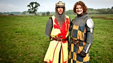 The actors playing Robert the Bruce and an English knight