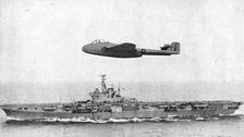 The World's first landing of a jet on an aircraft carrier, 1945.