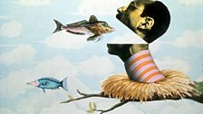 Terry Gilliam animation of a man eating a fish.