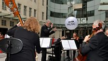 The BBC Concert Orchestra perform in the New Broadcasting House Piazza. Photo by Mark Allan/BBC