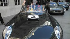 Katy Jones, Louisa Downay (and Pudsey) can't wait to see off in their 1961 Ferrari Spyder