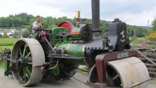 Alex Sharphouse driving one of his steam rollers
