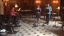 David Owen Norris, Amanda Pitt and Gareth Brynmor John rehearsing in The Great Hall at Dunham Massey