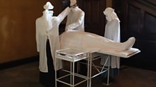 The 'Operating Theatre' re-created at Dunham Massey, complete with invisible patient and nursing team