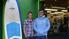 Richie Fitzgerald (L) with broadcaster Mark Patterson. Richie says surf is worth millions to the Bundoran economy.