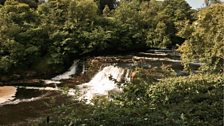 The Aysgarth Falls on the beautiful river Ure