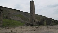 The chimney still stands at Old Gang Smelt Mill