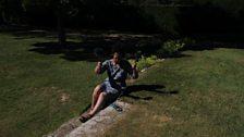 Producer Cecile recording in the garden