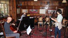 Nick Cooper, Gary Yershon and Harriet Walter in rehearsal