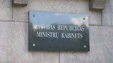 Outside the Latvian Cabinet Ministry - home to the Prime Minister Laumdota Straujuma