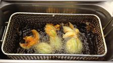Michael Smith deep frying courgette flowers
