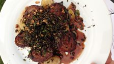 Breast of lamb with crisp kale and seaweed crumbs