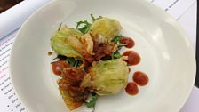 Michael Smith's crowdie stuffed deep fried courgette flowers