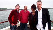 Gwilym Simcock, Julian May (producer), Kizzy Crawford and Tim Marlow aboard the boat Seren y Mor (Star of the Sea)