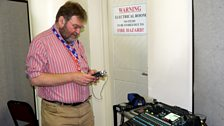 BBC engineer Bob Nettles backstage at Grahamstown , South Africa: photo by BBC