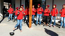 Street singers at Grahamstown , South Africa: photo by BBC