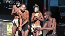Four street dancers at Grahamstown , South Africa: photo by BBC